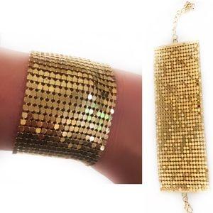 Vintage Gold Metal Mesh Disco 70's Wide Bracelet